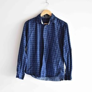 Men's Fredd Marshall Checkered Plaid Denim Shirt